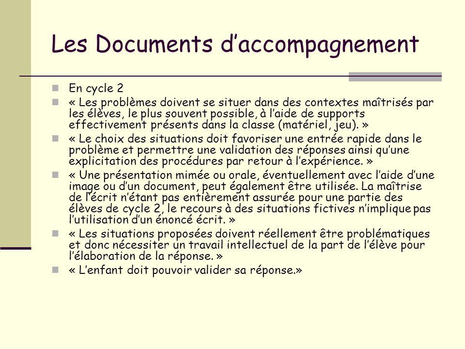 Les Documents daccompagnement En cycle 2 « Les problèmes doivent se situer dans des contextes maîtrisés par les élèves, le plus souvent possible, à la