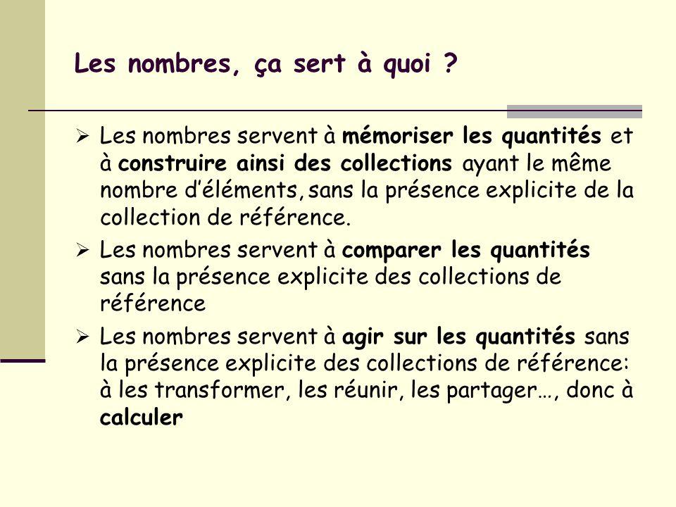 Les nombres, ça sert à quoi ? Les nombres servent à mémoriser les quantités et à construire ainsi des collections ayant le même nombre déléments, sans
