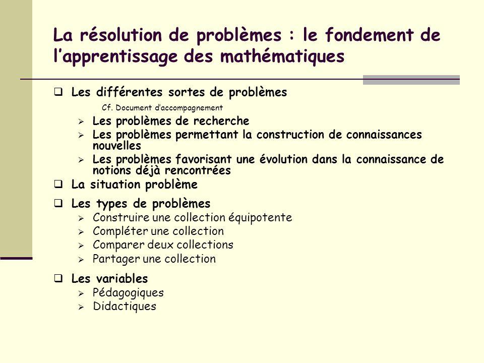 La résolution de problèmes : le fondement de lapprentissage des mathématiques Les différentes sortes de problèmes Cf. Document daccompagnement Les pro