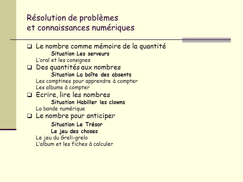 Résolution de problèmes et connaissances numériques Le nombre comme mémoire de la quantité Situation Les serveurs Loral et les consignes Des quantités