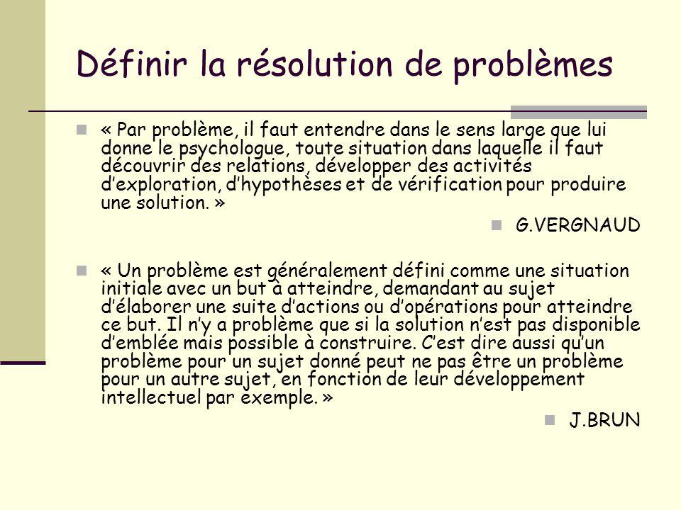 Définir la résolution de problèmes « Par problème, il faut entendre dans le sens large que lui donne le psychologue, toute situation dans laquelle il