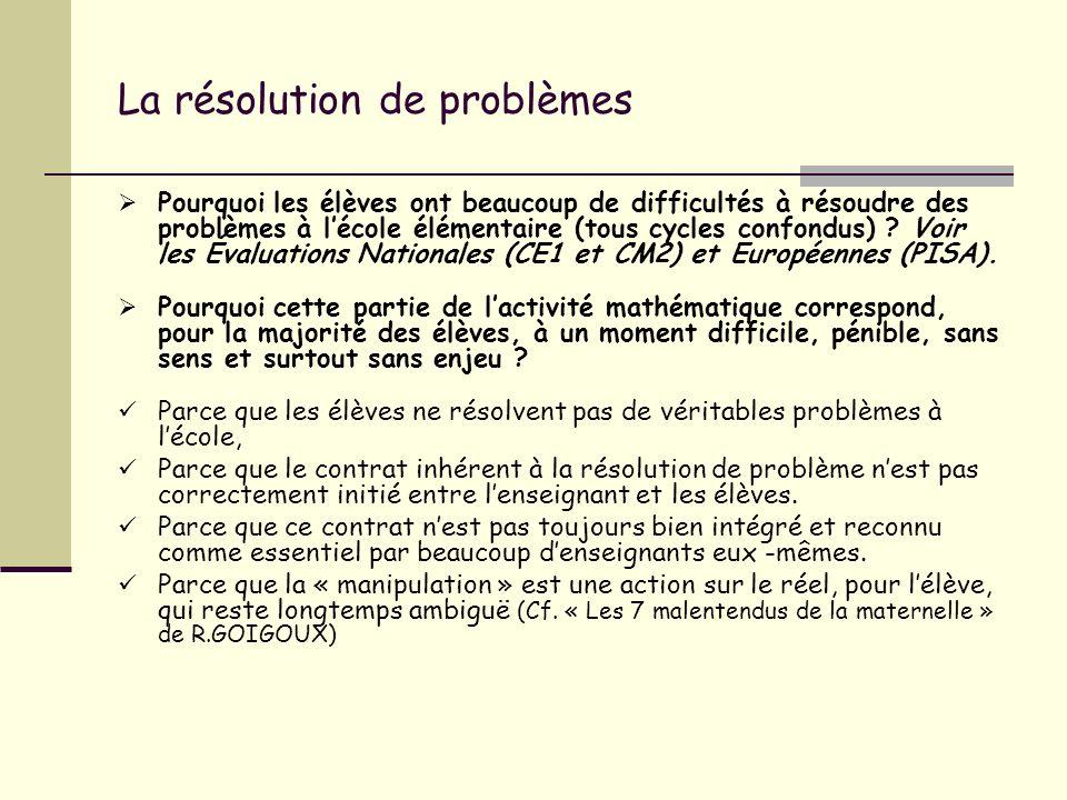 La résolution de problèmes Pourquoi les élèves ont beaucoup de difficultés à résoudre des problèmes à lécole élémentaire (tous cycles confondus) ? Voi