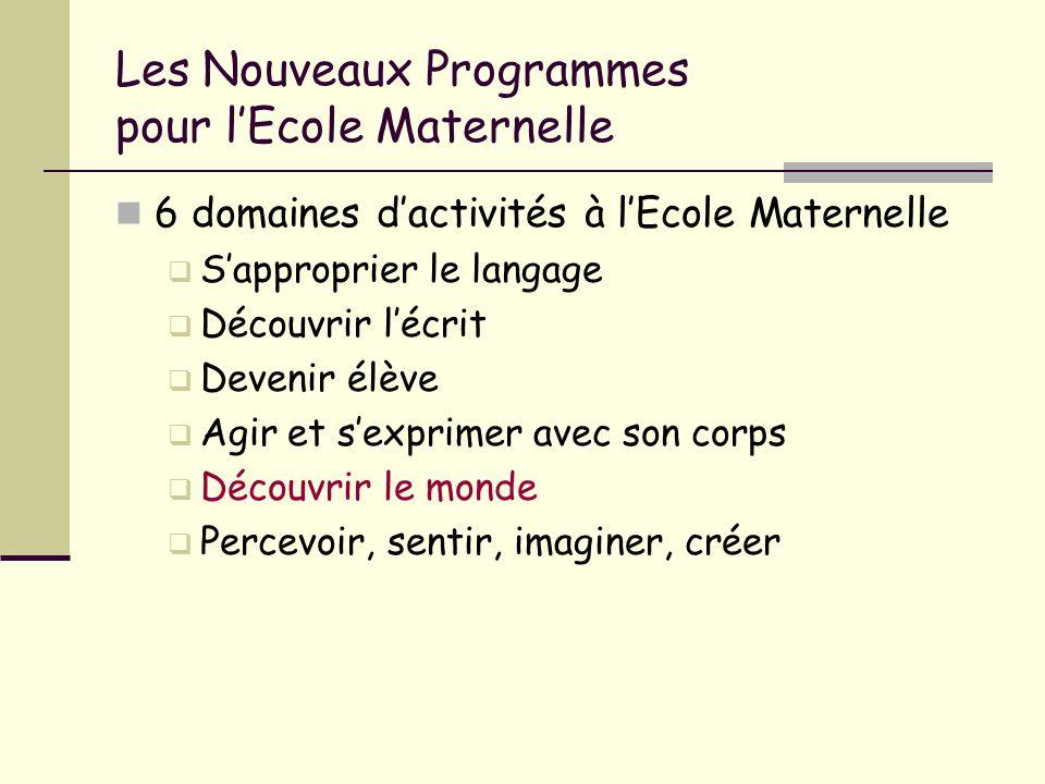 Les Nouveaux Programmes pour lEcole Maternelle 6 domaines dactivités à lEcole Maternelle Sapproprier le langage Découvrir lécrit Devenir élève Agir et