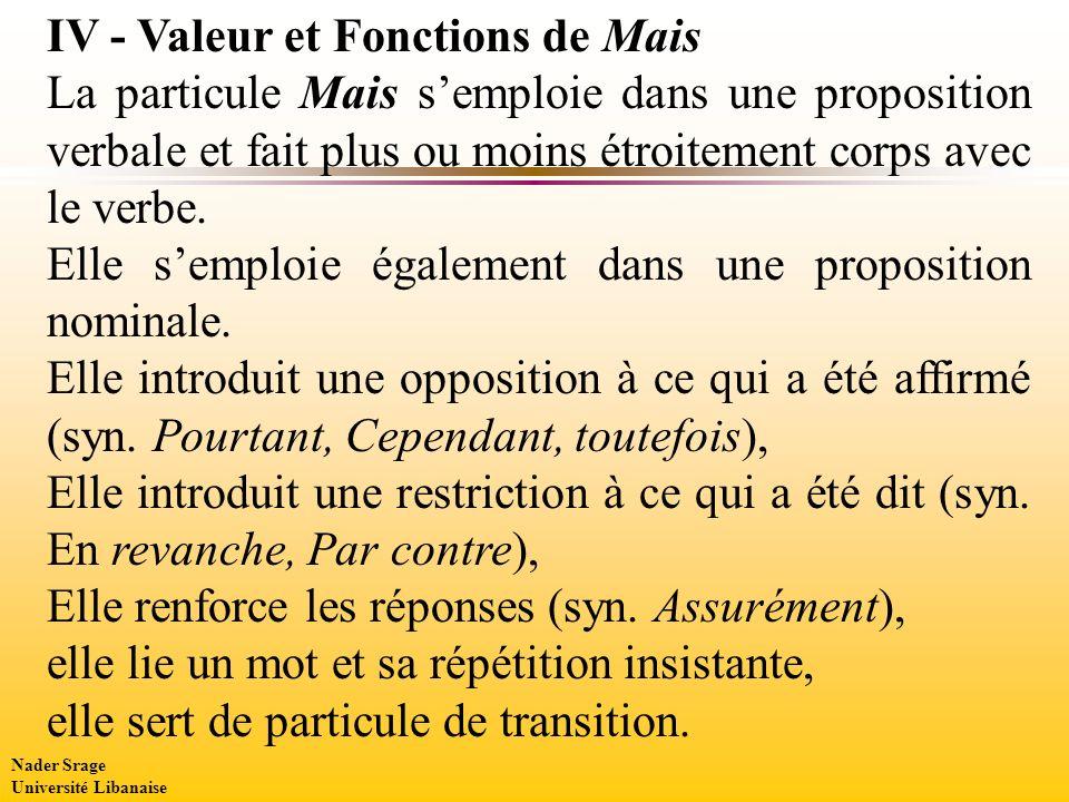 IV - Valeur et Fonctions de Mais La particule Mais semploie dans une proposition verbale et fait plus ou moins étroitement corps avec le verbe.