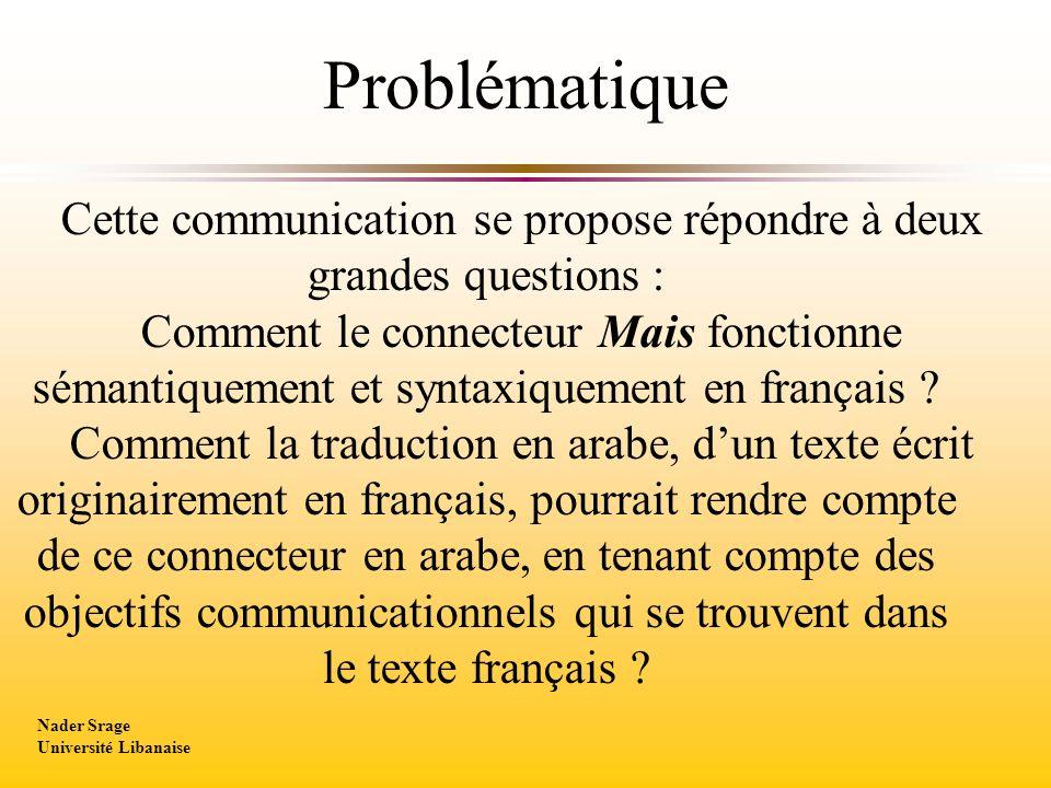 Cette communication se propose répondre à deux grandes questions : Comment le connecteur Mais fonctionne sémantiquement et syntaxiquement en français .