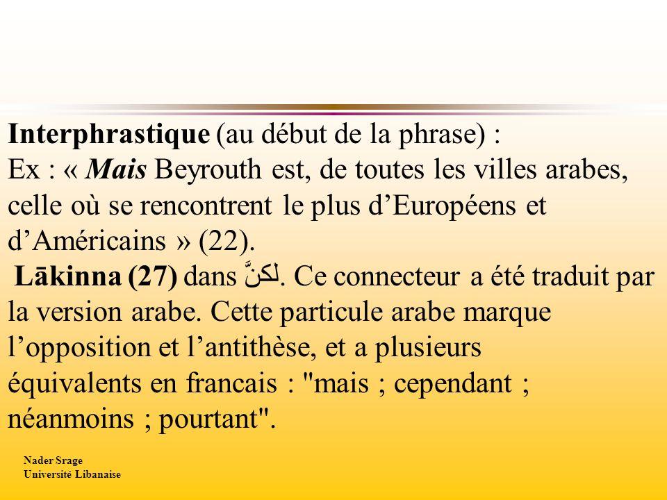 Interphrastique (au début de la phrase) : Ex : « Mais Beyrouth est, de toutes les villes arabes, celle où se rencontrent le plus dEuropéens et dAméric