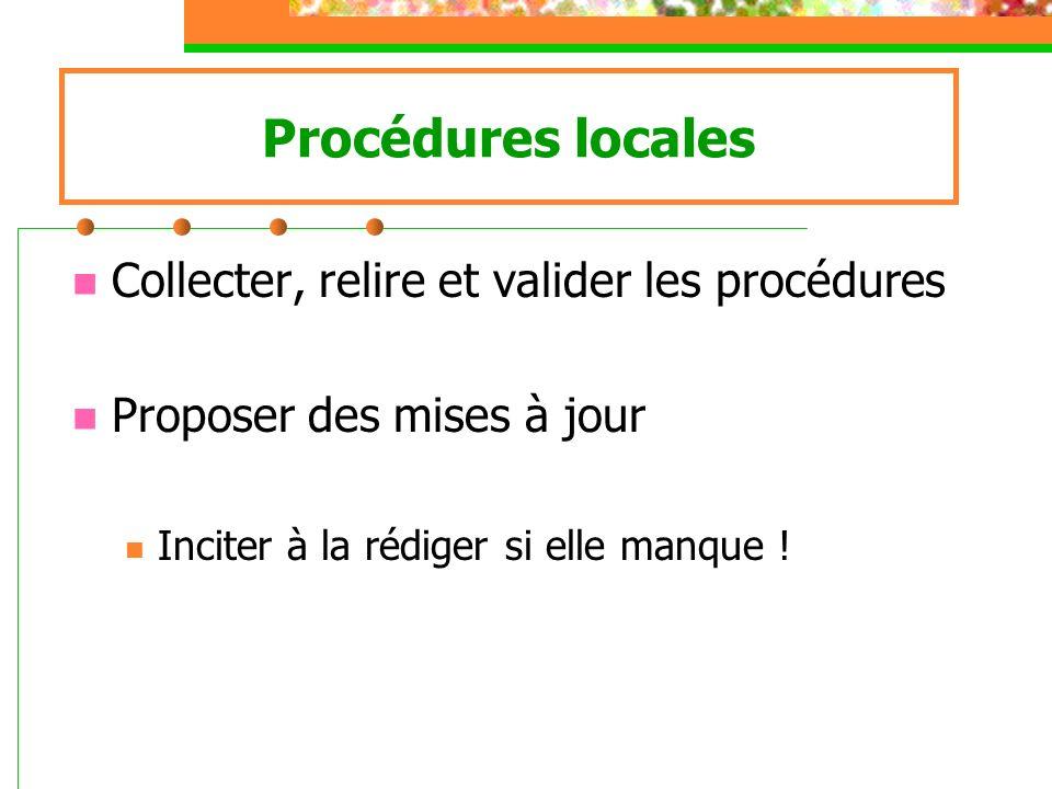 Procédures locales Collecter, relire et valider les procédures Proposer des mises à jour Inciter à la rédiger si elle manque !
