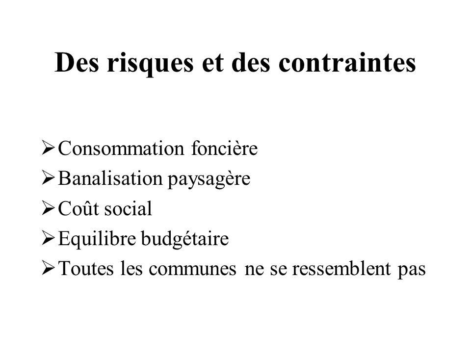 Des risques et des contraintes Consommation foncière Banalisation paysagère Coût social Equilibre budgétaire Toutes les communes ne se ressemblent pas