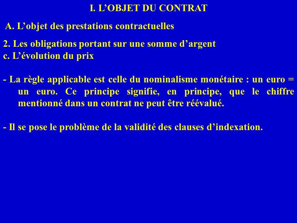 I. LOBJET DU CONTRAT A. Lobjet des prestations contractuelles 2. Les obligations portant sur une somme dargent c. Lévolution du prix - La règle applic