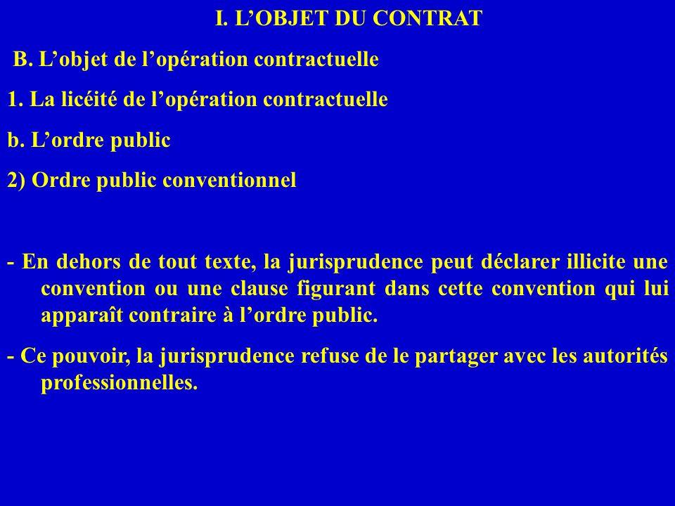 I. LOBJET DU CONTRAT B. Lobjet de lopération contractuelle 1. La licéité de lopération contractuelle b. Lordre public 2) Ordre public conventionnel -