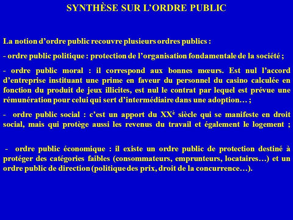 SYNTHÈSE SUR LORDRE PUBLIC La notion dordre public recouvre plusieurs ordres publics : - ordre public politique : protection de lorganisation fondamen