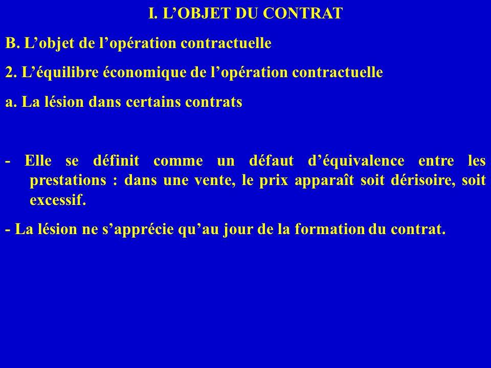 I. LOBJET DU CONTRAT B. Lobjet de lopération contractuelle 2. Léquilibre économique de lopération contractuelle a. La lésion dans certains contrats -