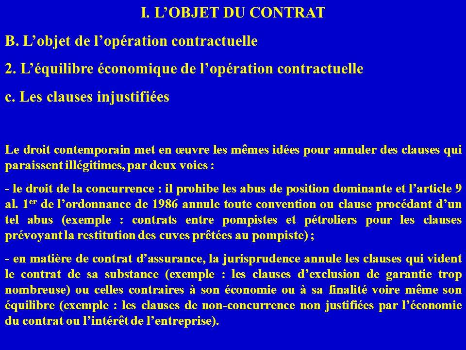 I. LOBJET DU CONTRAT B. Lobjet de lopération contractuelle 2. Léquilibre économique de lopération contractuelle c. Les clauses injustifiées Le droit c