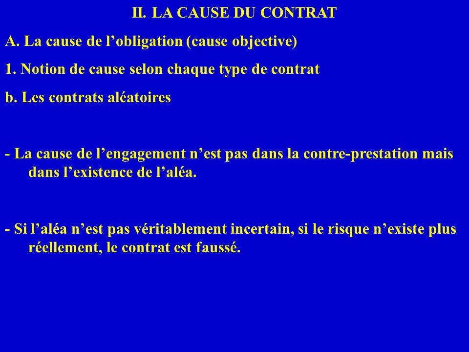 II. LA CAUSE DU CONTRAT A. La cause de lobligation (cause objective) 1. Notion de cause selon chaque type de contrat b. Les contrats aléatoires - La c