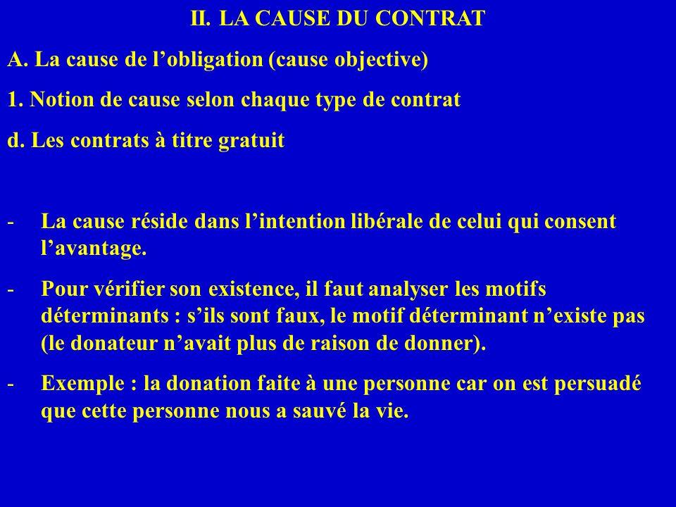 II. LA CAUSE DU CONTRAT A. La cause de lobligation (cause objective) 1. Notion de cause selon chaque type de contrat d. Les contrats à titre gratuit -