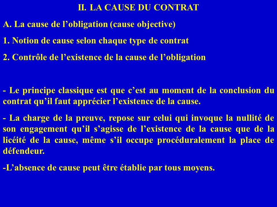 II. LA CAUSE DU CONTRAT A. La cause de lobligation (cause objective) 1. Notion de cause selon chaque type de contrat 2. Contrôle de lexistence de la c