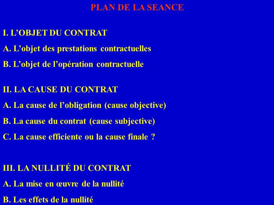 PLAN DE LA SEANCE I. LOBJET DU CONTRAT A. Lobjet des prestations contractuelles B. Lobjet de lopération contractuelle II. LA CAUSE DU CONTRAT A. La ca
