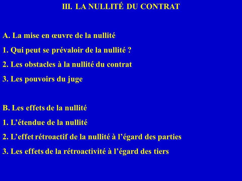 III. LA NULLITÉ DU CONTRAT A. La mise en œuvre de la nullité 1. Qui peut se prévaloir de la nullité ? 2. Les obstacles à la nullité du contrat 3. Les