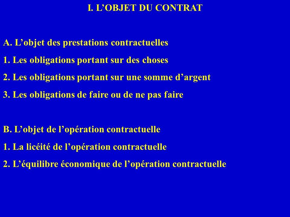 I. LOBJET DU CONTRAT A. Lobjet des prestations contractuelles 1. Les obligations portant sur des choses 2. Les obligations portant sur une somme darge