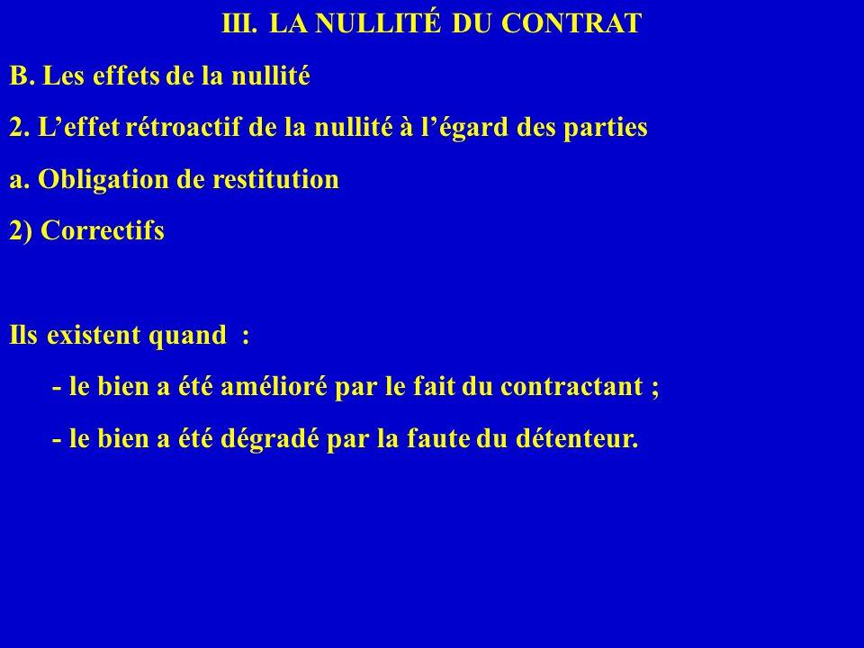 III. LA NULLITÉ DU CONTRAT B. Les effets de la nullité 2. Leffet rétroactif de la nullité à légard des parties a. Obligation de restitution 2) Correct