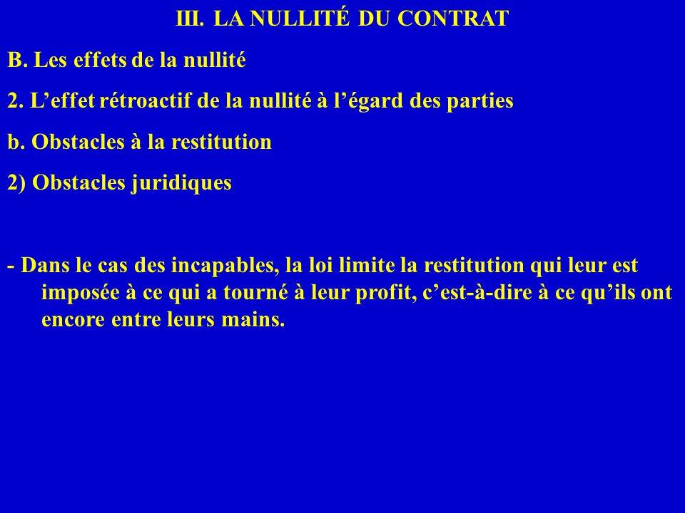 III. LA NULLITÉ DU CONTRAT B. Les effets de la nullité 2. Leffet rétroactif de la nullité à légard des parties b. Obstacles à la restitution 2) Obstac