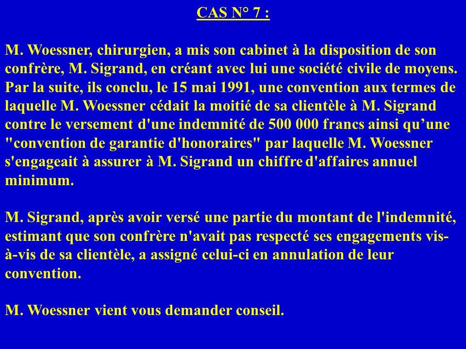 CAS N° 7 : M. Woessner, chirurgien, a mis son cabinet à la disposition de son confrère, M. Sigrand, en créant avec lui une société civile de moyens. P