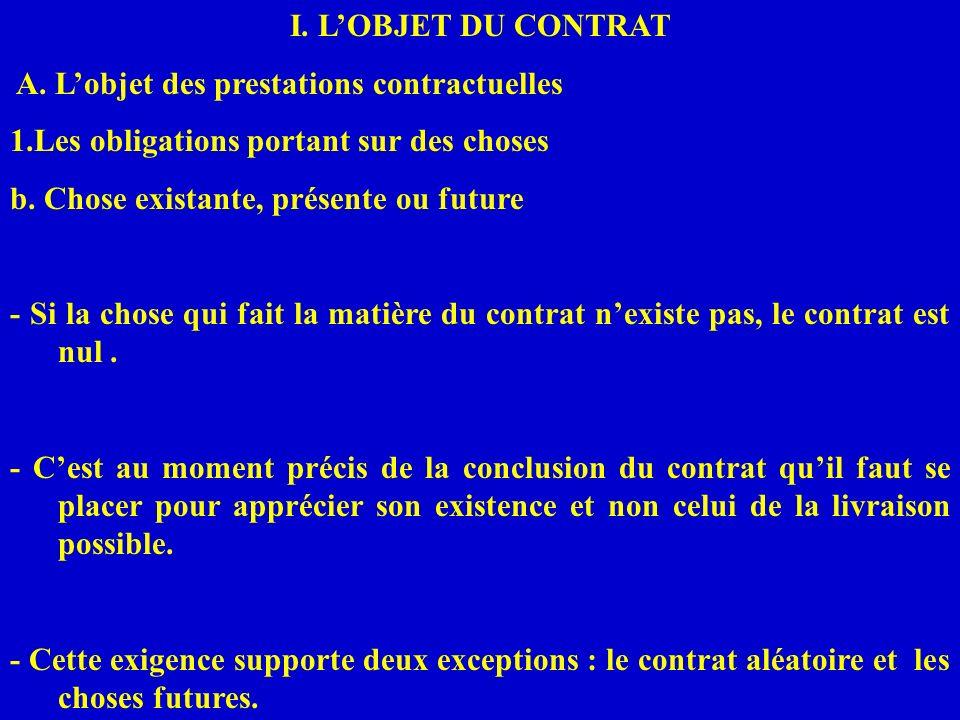 I. LOBJET DU CONTRAT A. Lobjet des prestations contractuelles 1.Les obligations portant sur des choses b. Chose existante, présente ou future - Si la