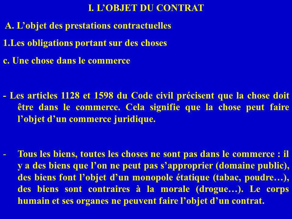 I. LOBJET DU CONTRAT A. Lobjet des prestations contractuelles 1.Les obligations portant sur des choses c. Une chose dans le commerce - Les articles 11