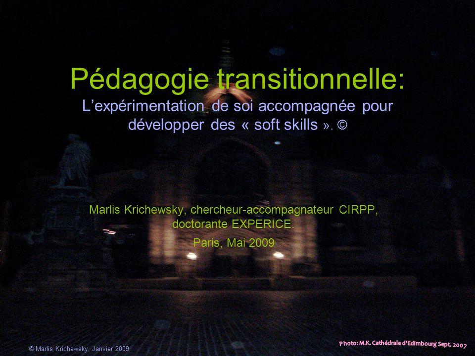 Pédagogie transitionnelle: Lexpérimentation de soi accompagnée pour développer des « soft skills ». © Marlis Krichewsky, chercheur-accompagnateur CIRP