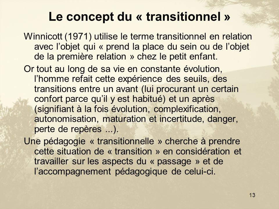 13 Le concept du « transitionnel » Winnicott (1971) utilise le terme transitionnel en relation avec lobjet qui « prend la place du sein ou de lobjet d