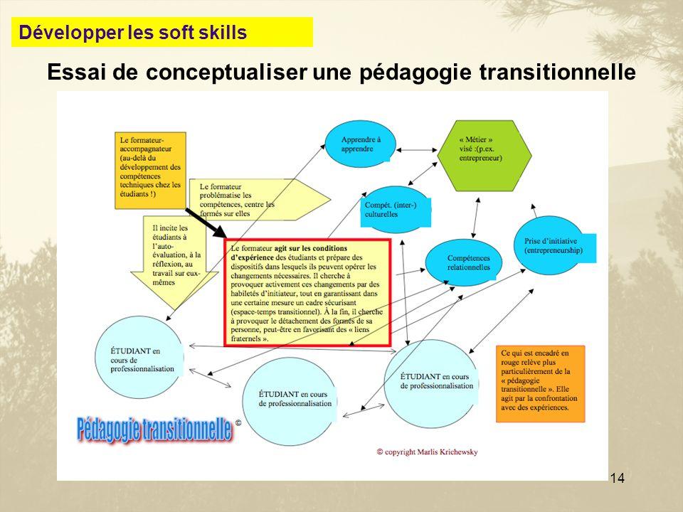 14 Essai de conceptualiser une pédagogie transitionnelle Développer les soft skills