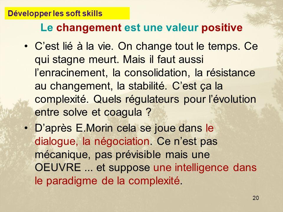 20 Le changement est une valeur positive Cest lié à la vie. On change tout le temps. Ce qui stagne meurt. Mais il faut aussi lenracinement, la consoli