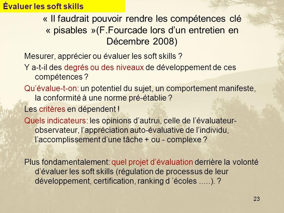 23 « Il faudrait pouvoir rendre les compétences clé « pisables »(F.Fourcade lors dun entretien en Décembre 2008) Mesurer, apprécier ou évaluer les sof