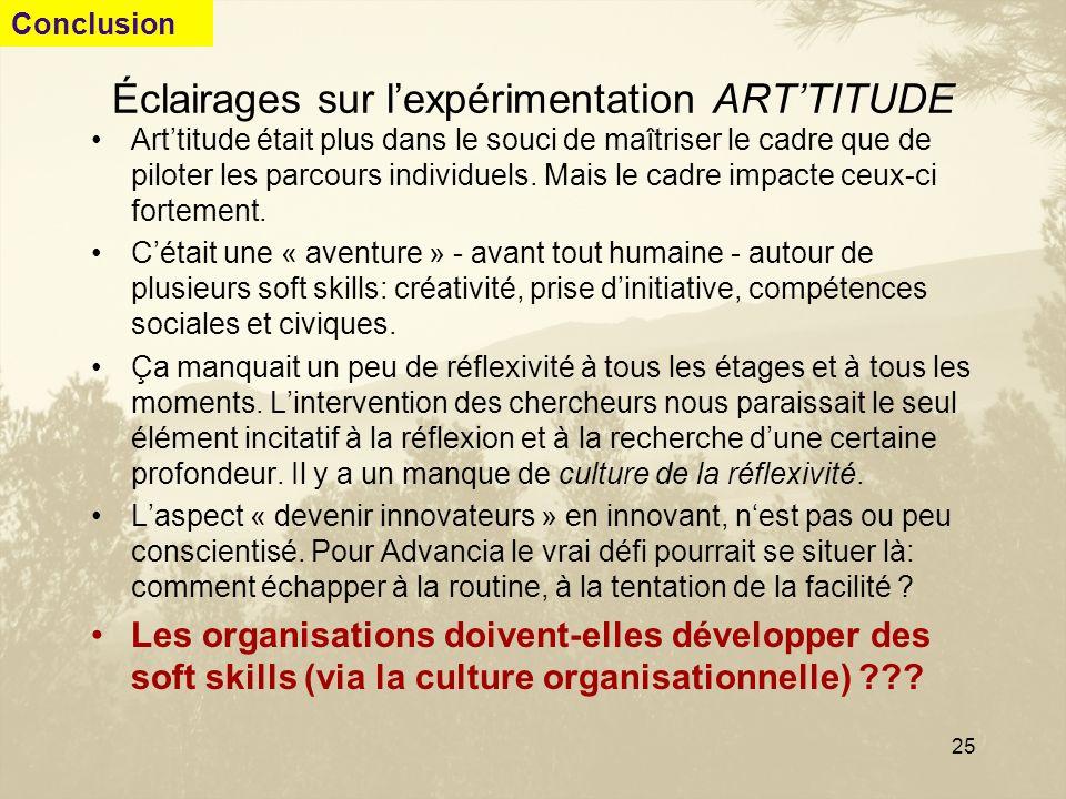 25 Éclairages sur lexpérimentation ARTTITUDE Arttitude était plus dans le souci de maîtriser le cadre que de piloter les parcours individuels. Mais le