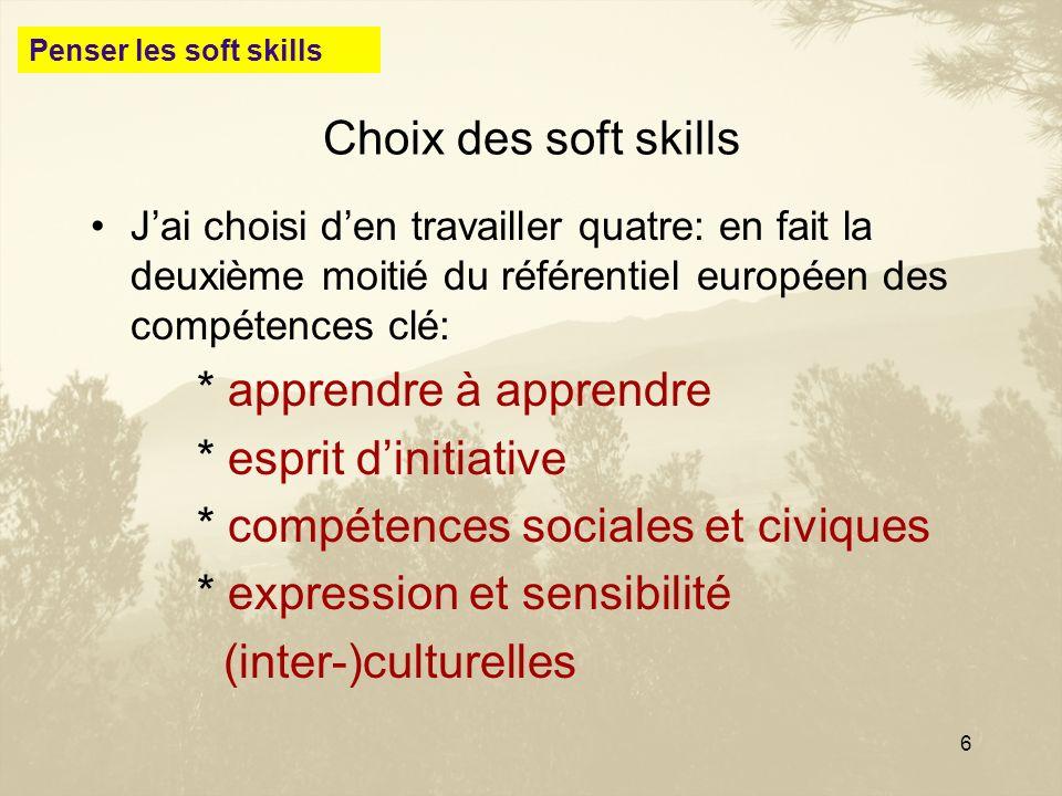 6 Choix des soft skills Jai choisi den travailler quatre: en fait la deuxième moitié du référentiel européen des compétences clé: * apprendre à appren