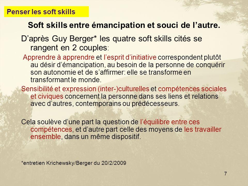 7 Soft skills entre émancipation et souci de lautre. Daprès Guy Berger* les quatre soft skills cités se rangent en 2 couples : Apprendre à apprendre e