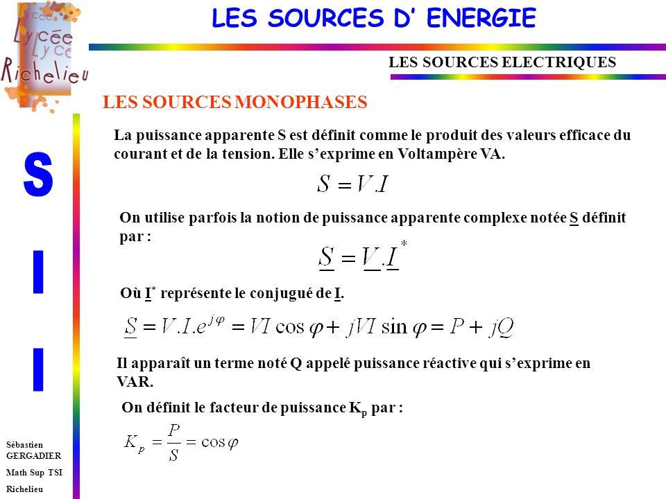 LES SOURCES D ENERGIE Sébastien GERGADIER Math Sup TSI Richelieu La puissance apparente S est définit comme le produit des valeurs efficace du courant et de la tension.