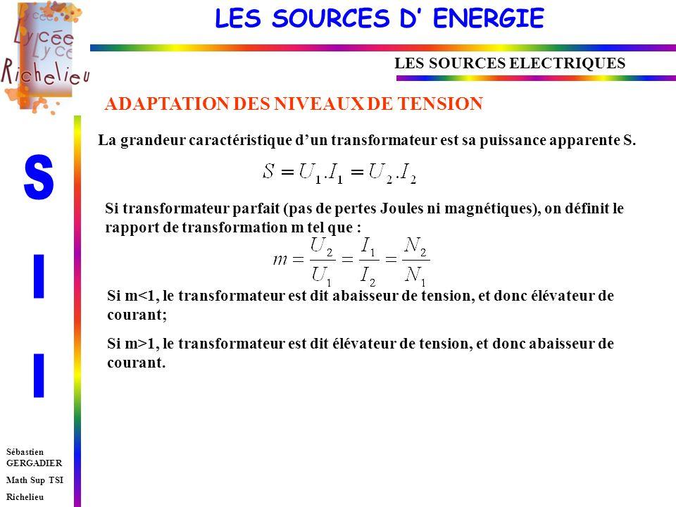 LES SOURCES D ENERGIE Sébastien GERGADIER Math Sup TSI Richelieu LES SOURCES ELECTRIQUES La grandeur caractéristique dun transformateur est sa puissance apparente S.