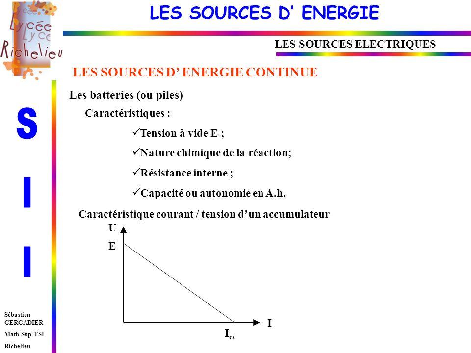 LES SOURCES D ENERGIE Sébastien GERGADIER Math Sup TSI Richelieu LES SOURCES ELECTRIQUES LES SOURCES D ENERGIE CONTINUE Les batteries (ou piles) Caractéristiques : Tension à vide E ; Nature chimique de la réaction; Résistance interne ; Capacité ou autonomie en A.h.