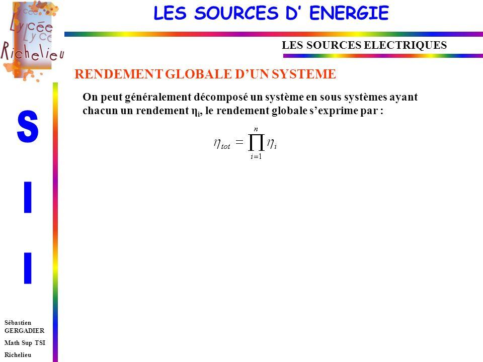 LES SOURCES D ENERGIE Sébastien GERGADIER Math Sup TSI Richelieu LES SOURCES ELECTRIQUES RENDEMENT GLOBALE DUN SYSTEME On peut généralement décomposé un système en sous systèmes ayant chacun un rendement η i, le rendement globale sexprime par :