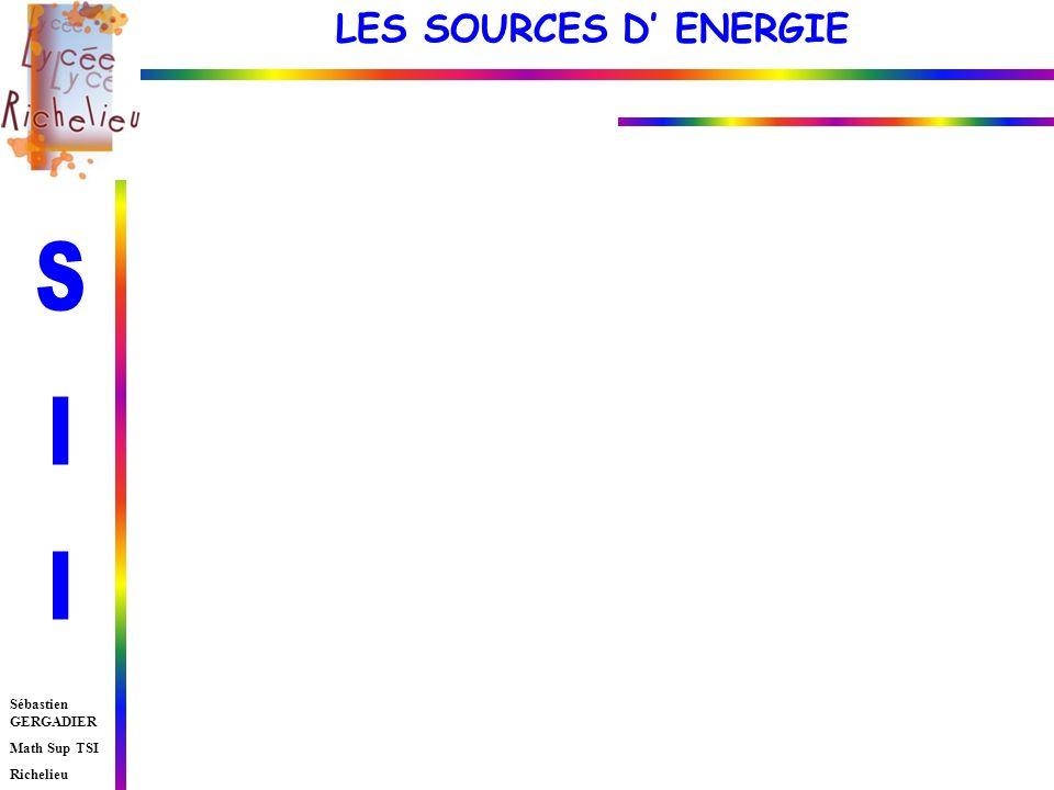LES SOURCES D ENERGIE Sébastien GERGADIER Math Sup TSI Richelieu