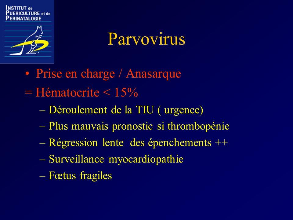 Parvovirus Prise en charge / Anasarque = Hématocrite < 15% –Déroulement de la TIU ( urgence) –Plus mauvais pronostic si thrombopénie –Régression lente