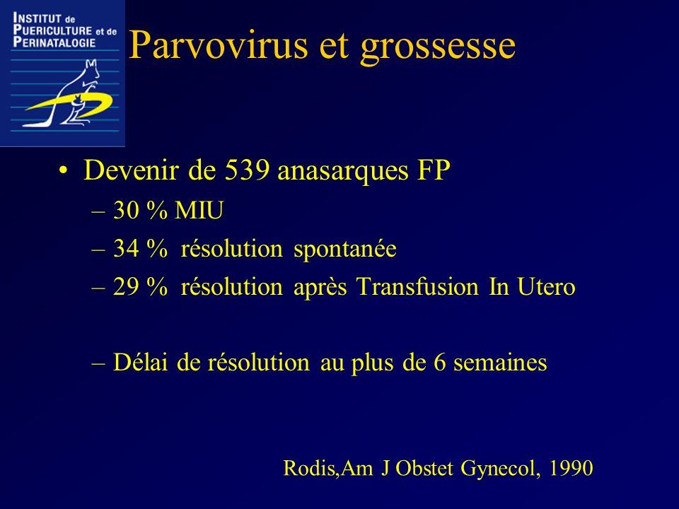 Parvovirus et grossesse Devenir de 539 anasarques FP –30 % MIU –34 % résolution spontanée –29 % résolution après Transfusion In Utero –Délai de résolu