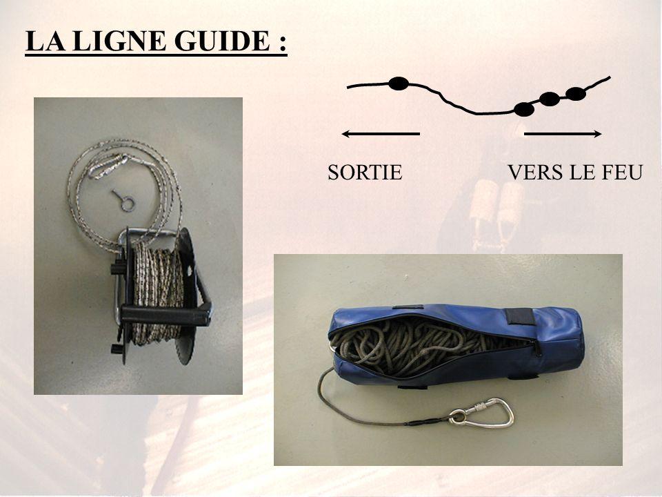 => LE MATERIEL : La ligne guide : * longueur de 50 à 60 m et est enroulée dans un sac ou sur un touret * comporte des repères de progression * dans ce