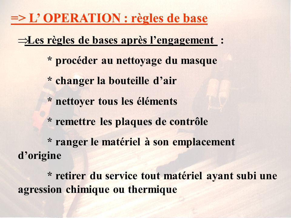 => L OPERATION : règles de base Les règles de bases pendant lengagement : * enregistrement et surveillance des binômes * communication * utilisation d