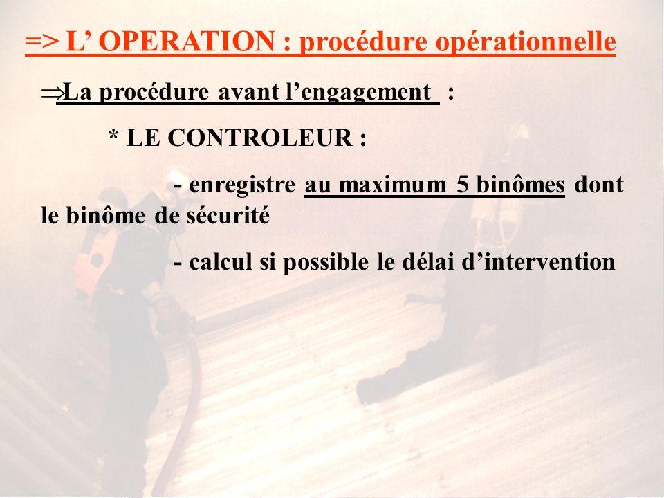 => L OPERATION : procédure opérationnelle La procédure avant lengagement : * LE CONTROLEUR : - enregistre les binômes équipés dARI - regroupe et rense