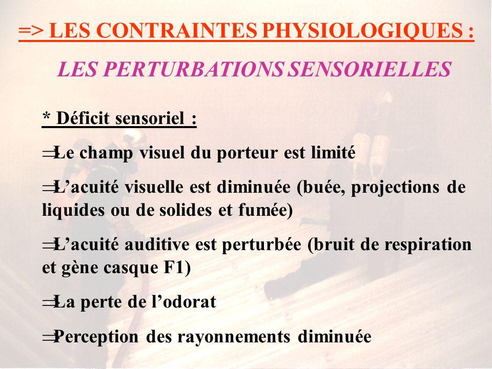 => LES CONTRAINTES PHYSIOLOGIQUES : * Déficit sensoriel : Le champ visuel du porteur est limité Lacuité visuelle est diminuée (buée, projections de liquides ou de solides et fumée) Lacuité auditive est perturbée (bruit de respiration et gène casque F1) La perte de lodorat Perception des rayonnements diminuée LES PERTURBATIONS SENSORIELLES