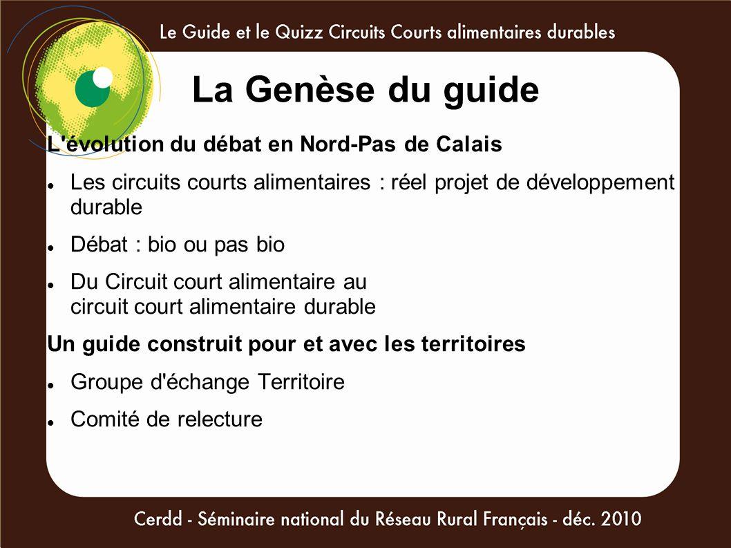 La Genèse du guide L'évolution du débat en Nord-Pas de Calais Les circuits courts alimentaires : réel projet de développement durable Débat : bio ou p