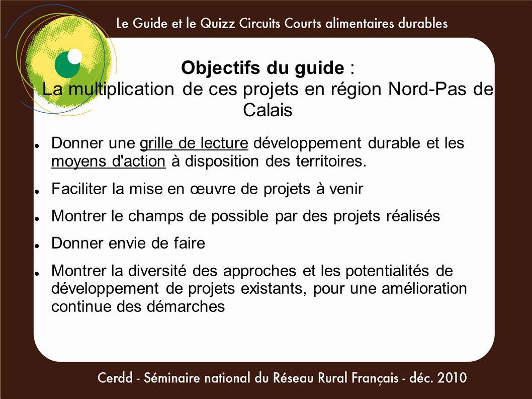 Objectifs du guide : La multiplication de ces projets en région Nord-Pas de Calais Donner une grille de lecture développement durable et les moyens d'