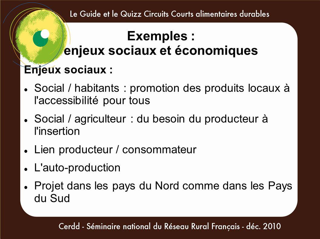 Exemples : enjeux sociaux et économiques Enjeux sociaux : Social / habitants : promotion des produits locaux à l'accessibilité pour tous Social / agri